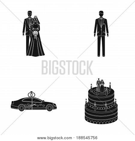 A bride and groom in a wedding dress with a bouquet of roses in their hands, a groom in a festive suit, a cadillant of newlyweds decorated with ribbons and hearts, a wedding cake with the bride and groom. Wedding set collection icons in black style vector