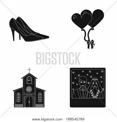 Elegant wedding shoes with heels, balloons for the ceremony, a church with a stained-glass window and a bell, a picture of the bride and groom. Wedding set collection icons in black style vector symbol stock illustration .