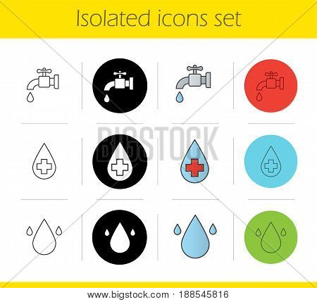 Water resources icons set. Linear, black and color styles. Faucet, pure water drops. Isolated vector illustrations