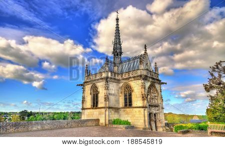 Saint Hubert Chapel at the Amboise Castle in France, the Loire Valley