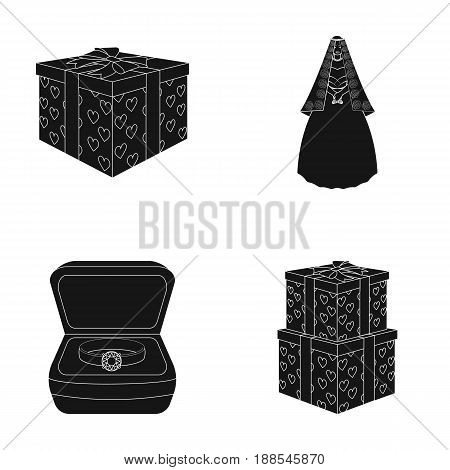 A box with a gift for a wedding, a bride in a veil and a dress, a ring in a diamond engagement ring with a diamond, boxes with gifts. Wedding set collection icons in black style vector symbol stock illustration .