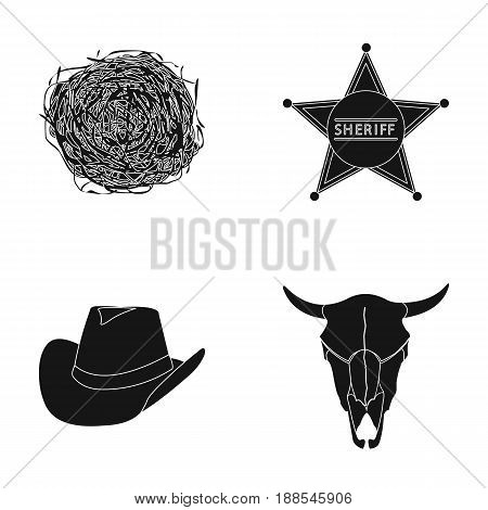 Tumbleweed, sheriff's star, hat, bull's skull. West West set collection icons in black style vector symbol stock illustration .