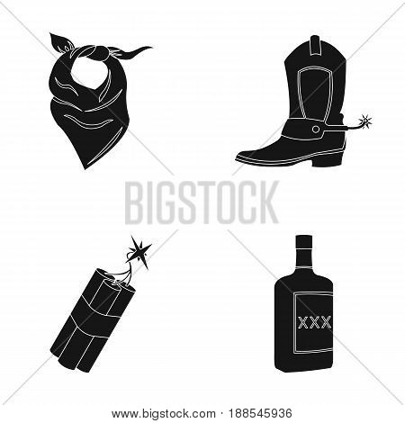 Bandage, boots, dynamite and a bottle of whiskey. Wild West set collection icons in black style vector symbol stock illustration .