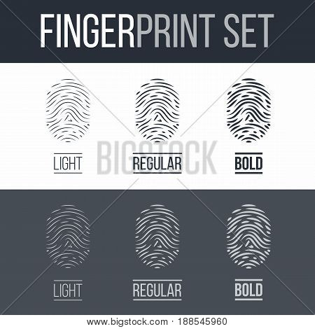 Abstract Fingerprints Icons Set for Identity Person on Dark and White Background