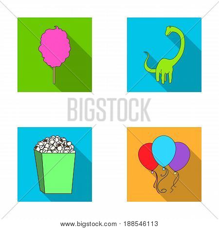 Sweet cotton wool on a stick, a toy dragon, popcorn in a box, colorful balloons on a string. Amusement park set collection icons in flat style vector symbol stock illustration .