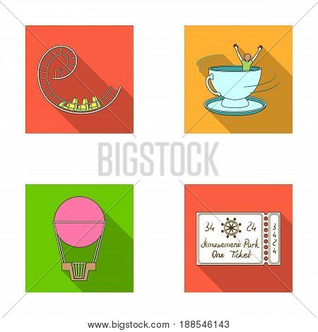 Roller coaster ride, balloon with basket, caruelle cup, ticket to the entrance to the park. Amusement park set collection icons in flat style vector symbol stock illustration .