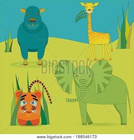 Cute Africas Animals Kids in Savanna. Bright Colored Giraffe, Elephant, Hippo and little Lion Made in Flat Style with Strokes. Vector EPS10