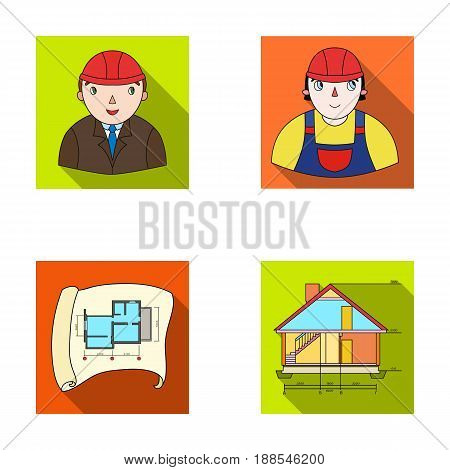 Engineer-constructor, construction worker, site plan, technical drawing of the house. Architecture set collection icons in flat style vector symbol stock illustration .