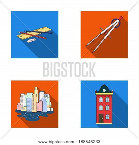 Drawing accessories, metropolis, house model. Architecture set collection icons in flat style vector symbol stock illustration . poster