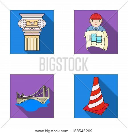 Column, master with drawing, bridge, index cone. Architecture set collection icons in flat style vector symbol stock illustration .