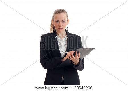 beautiful blonde busniess woman in uniform with tablet in her hands looking at the camera isolated on white background