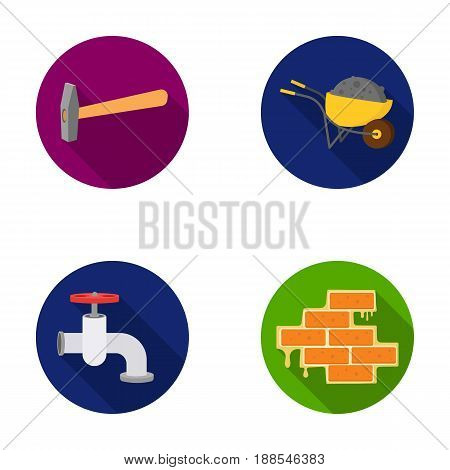 Hammer, wheelbarrow with cargo, water faucet, brickwork. Build and repair set collection icons in monochrome style vector symbol stock illustration .
