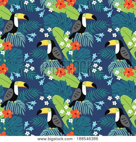 Tropical jungle seamless pattern with toucan bird, hibiscus flowers and palm leaves, flat design, vector illustration background.