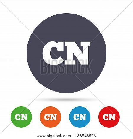 Chinese language sign icon. CN China translation symbol. Round colourful buttons with flat icons. Vector