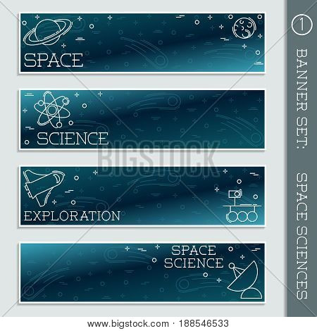 Set of  4 thin line style flat icons with a space science theme. Graphics are grouped and in several layers for easy editing. The file can be scaled to any size.
