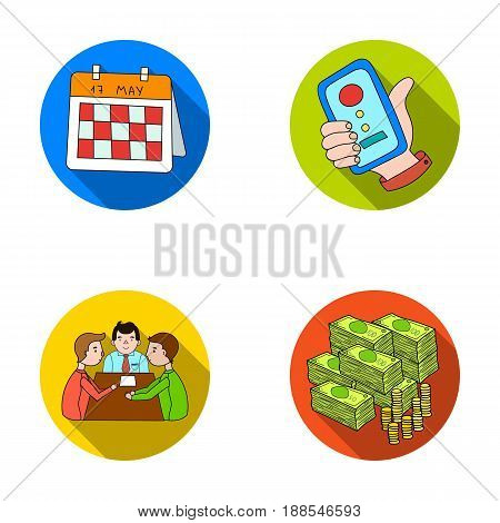 Calendar, telephone conference, agreement, cash.Business-conference and negotiations set collection icons in flat style vector symbol stock illustration .