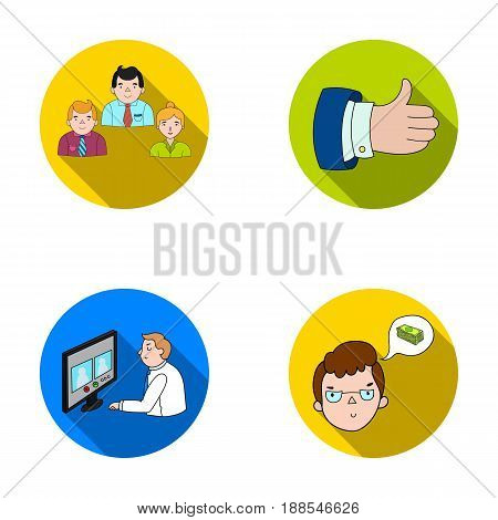 Videoconference, business thoughts, a badge of okay.Bizneskonferentsiya and negotiations set collection icons in flat style vector symbol stock illustration .