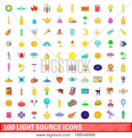 100 light source icons set in cartoon style for any design vector illustration