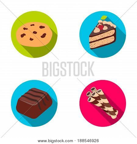 American cookies, a piece of cake, candy, wafer tubule. Chocolate desserts set collection icons in flat style vector symbol stock illustration .