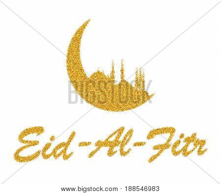 Vector illustration of golden spangles on white background to a Muslim holiday Eid- Al- Fitr