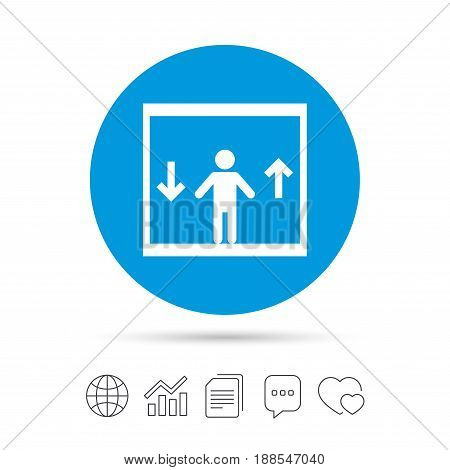 Elevator sign icon. Person symbol with up and down arrows. Copy files, chat speech bubble and chart web icons. Vector