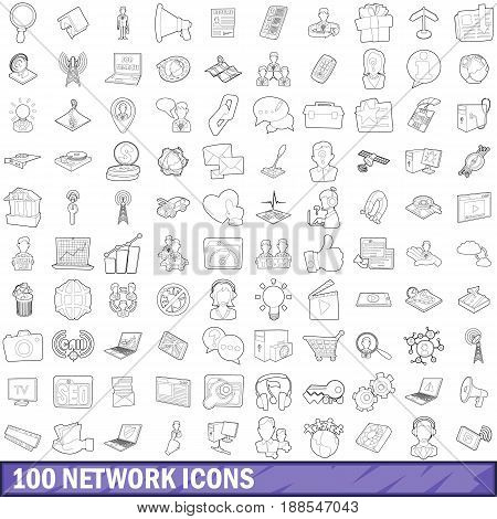 100 network icons set in outline style for any design vector illustration