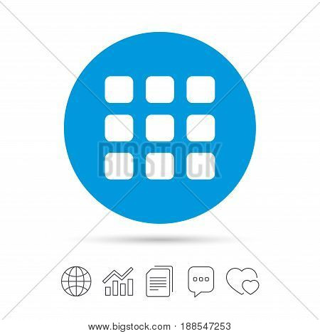 Thumbnails grid sign icon. Gallery view option symbol. Copy files, chat speech bubble and chart web icons. Vector