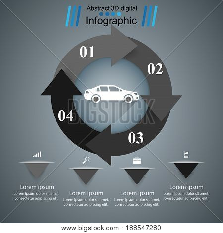 Abstract 3D digital illustration Infographic. Marketing info