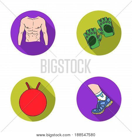 Men's torso, gymnastic gloves, jumping ball, sneakers. Fitnes set collection icons in flat style vector symbol stock illustration .