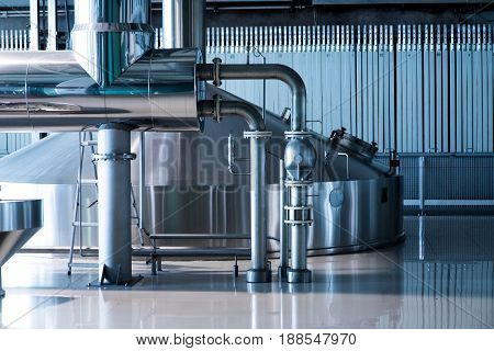 Brewing production vats on brew fabric old