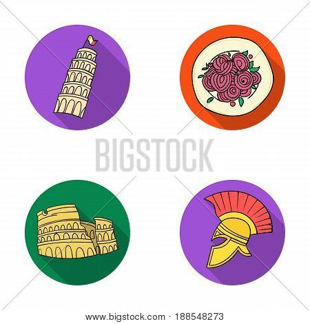 Pisa tower, pasta, coliseum, Legionnaire helmet.Italy country set collection icons in flat style vector symbol stock illustration .