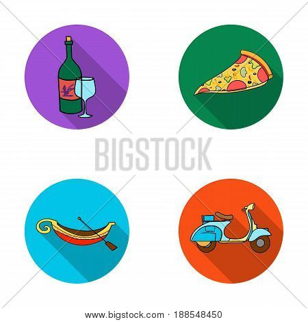 A bottle of wine, a piece of pizza, a gundola, a scooter. Italy set collection icons in flat style vector symbol stock illustration .