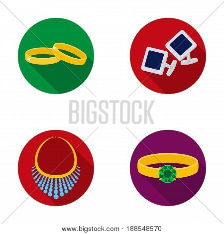 Wedding rings, cuff links, diamond necklace, women's ring with a stone. Jewelery and accessories set collection icons in flat style vector symbol stock illustration .