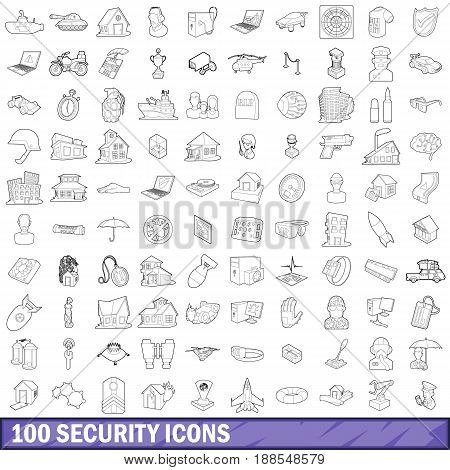 100 security icons set in outline style for any design vector illustration