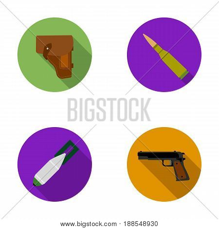 Holster, cartridge, air bomb, pistol. Military and army set collection icons in flat style vector symbol stock illustration .