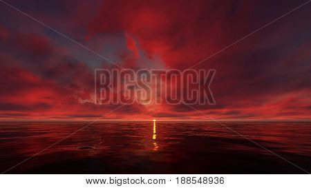 this picture represents a dark red sunset sky in the ocean