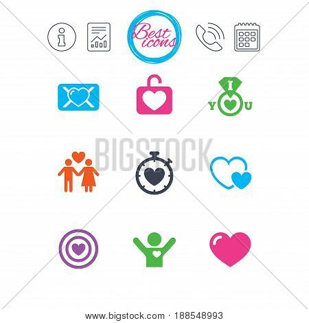 Information, report and calendar signs. Love, valentine day icons. Target with heart, oath letter and locker symbols. Couple lovers, boyfriend signs. Classic simple flat web icons. Vector
