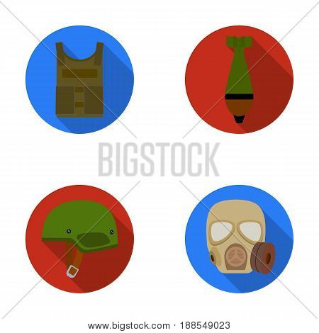 Bullet-proof vest, mine, helmet, gas mask. Military and army set collection icons in flat style vector symbol stock illustration .