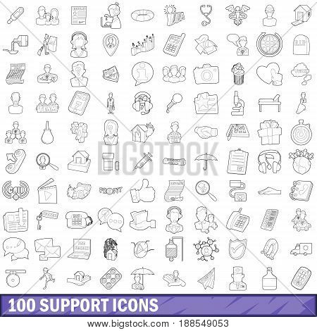 100 support icons set in outline style for any design vector illustration