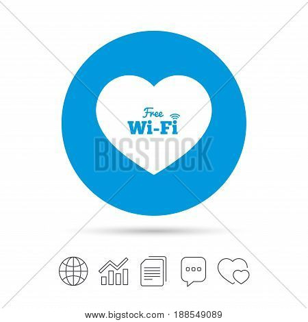 Love Free wifi sign. Wifi symbol. Wireless Network icon. Wifi zone. Copy files, chat speech bubble and chart web icons. Vector