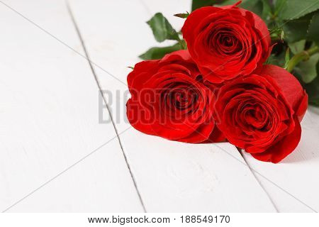 Three red roses lie on white wooden table. Studio shot