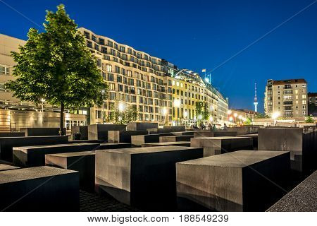 The Memorial Of The Murdered Jews In Europe Also Known As The Holocaust Memorial In Berlin At Night