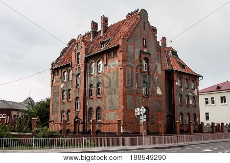 Old mansion in  German style with a tiled roof in Baltiysk, Kaliningrad region, Russia
