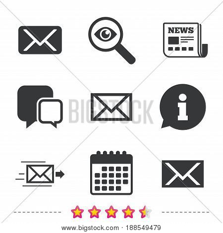 Mail envelope icons. Message delivery symbol. Post office letter signs. Newspaper, information and calendar icons. Investigate magnifier, chat symbol. Vector