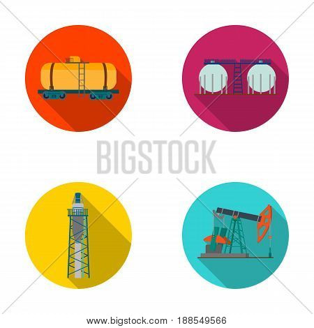 A railway tank, an oil storage, a drilling tower, an oil pump. Oil industry set collection icons in flat style vector symbol stock illustration .