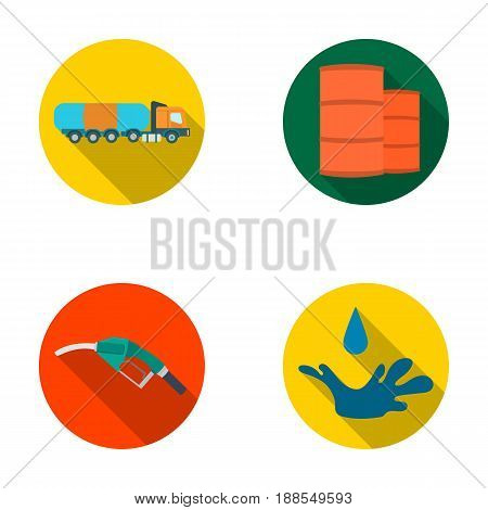 Truck with a cistern, barrels of fuel, a refueling gun, a drop of oil. Oil industry set collection icons in flat style vector symbol stock illustration .