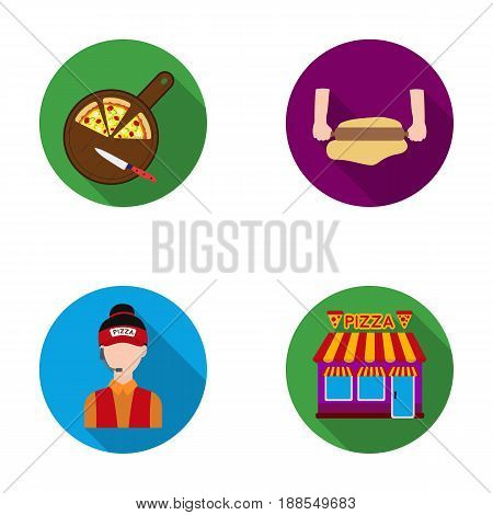 Pizza on a cutting board, a seller, a pizzeria, a rolling test. Pizza and pizzeria set collection icons in flat style vector symbol stock illustration .