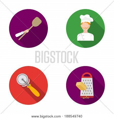 Paddle for the oven, cutter for pizza, cook, rubbing cheese. Pizza and pizzeria set collection icons in flat style vector symbol stock illustration .
