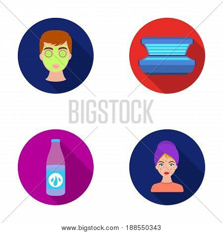 Face mask, solarium, bottle ts lasenom, pimples on face. Skin Care set collection icons in flat style vector symbol stock illustration .