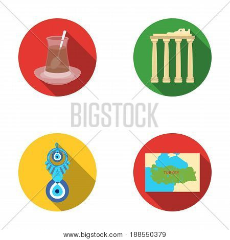 Turkish tea, amulet, ruins of antiquity, map of the territory. Turkey set collection icons in flat style vector symbol stock illustration .